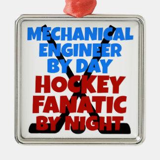 Ingénieur mécanicien d'amant d'hockey ornement carré argenté