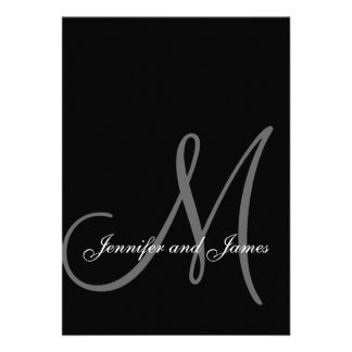 Initiale blanche noire élégante d invitations de m