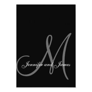 Initiale blanche noire élégante d'invitations de carton d'invitation  12,7 cm x 17,78 cm
