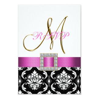 Initiale blanche noire rose de damassé épousant carton d'invitation 8,89 cm x 12,70 cm