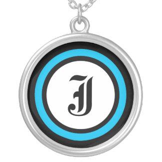 Initiale bleue de cercle pendentif rond