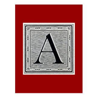 Initiale de bois de graveur de gravure sur bois en carte postale