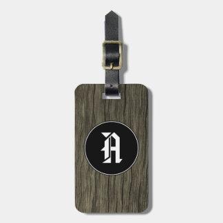 Initiale de coutume + Motif en bois rustique de Étiquette À Bagage