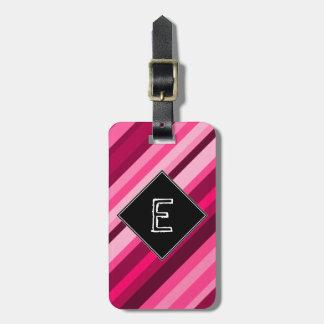 Initiale de coutume + Motif rose/magenta de Étiquette À Bagage