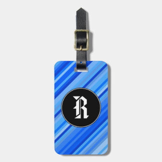 Initiale de coutume + Rayures de motif bleu Étiquette À Bagage