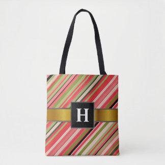 Initiale de coutume + Rayures Pastèque-Inspirées Tote Bag