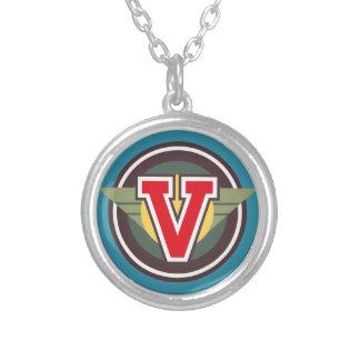 """Initiale de la lettre """"V"""" de monogramme de Deco Pendentif Rond"""