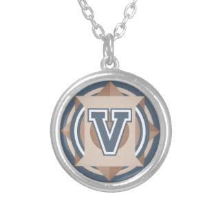 """Initiale de la lettre """"V"""" de monogramme Pendentif Rond"""