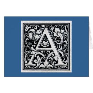 Initiale décorative de bois de graveur de gravure carte de vœux