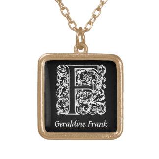 Initiale décorative de monogramme de la lettre F Pendentif Carré