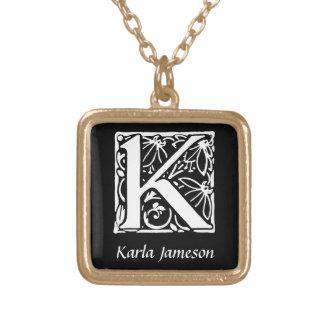Initiale décorative de monogramme de la lettre K Pendentif Carré