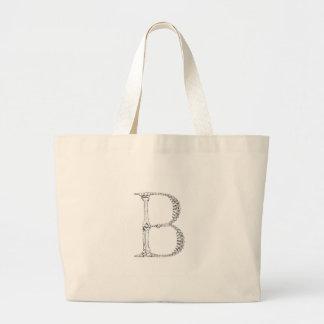 Initiale d'os de la lettre B Grand Tote Bag