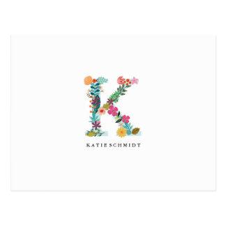 Initiale florale de monogramme de lettre - K - Carte Postale