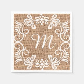 Initiale florale de monogramme de toile de jute serviette en papier