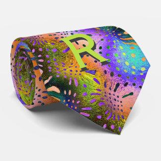 Initiale - fractale d'orange, pourpre, turquoise, cravates