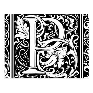 Initiale médiévale de cru de monogramme de la carte postale