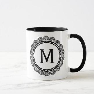 Initiale noire et blanche de coutume de médaillon mugs