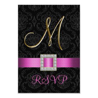 Initiale noire rose M d'or de damassé épousant Carton D'invitation 8,89 Cm X 12,70 Cm