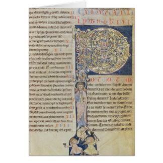 Initiale 'P de Historiated Carte De Vœux