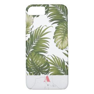 Initiale personnalisable de marbre de palmier de coque iPhone 7