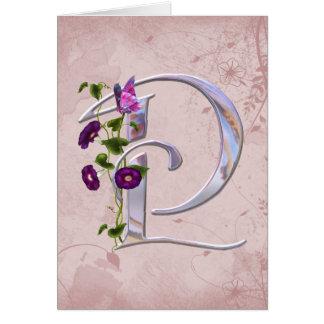 Initiale précieuse P de papillon Carte De Vœux
