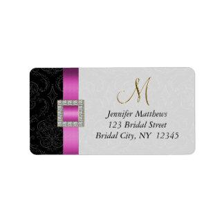 Initiale rose et noire d'or de damassé épousant RS Étiquettes D'adresse