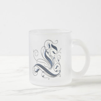 Initiale vintage L Mug En Verre Givré