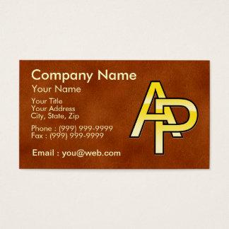 initiales  A et P en or sur fond de cuir Cartes De Visite