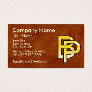 initiales  B et P en or sur fond de cuir Cartes De Visite