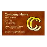 initiales  C et C en or sur fond de cuir Carte De Visite Standard