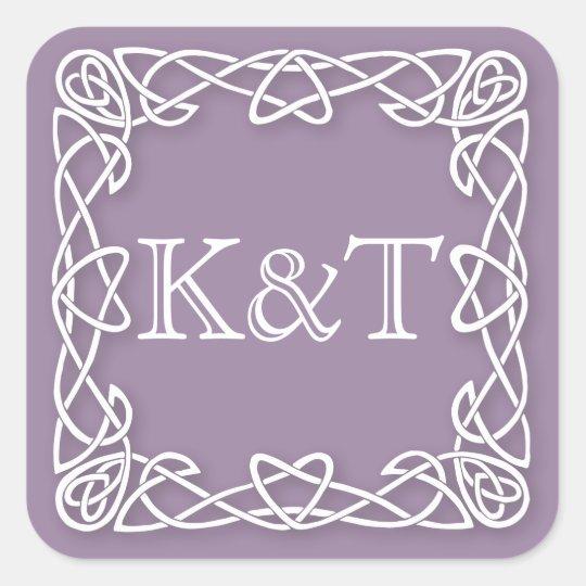Initiales celtiques de noeud - lilas sticker carré
