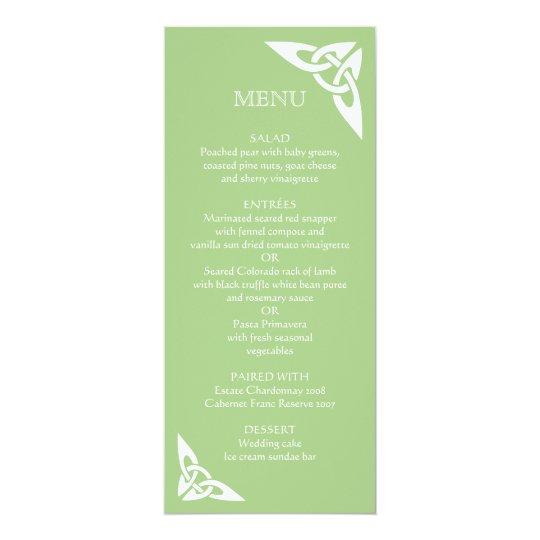 Initiales celtiques de noeud - vert de carte de carton d'invitation  10,16 cm x 23,49 cm