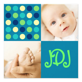 Initiales de carré de point de polka bleues invitation