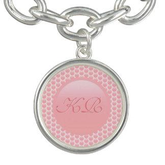 Initiales de monogramme sur le pois de rose rose bracelets