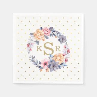 Initiales florales de monogramme de guirlande de serviette jetable
