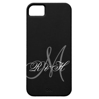 INITIALES GRISES NOIRES DE MONOGRAMME COQUE BARELY THERE iPhone 5