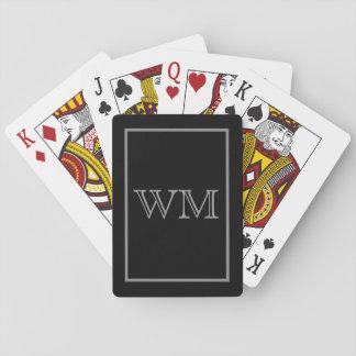 Initiales grises noires exécutives jeu de cartes