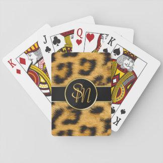 Initiales précieuses d'or d'empreinte de léopard - jeu de cartes