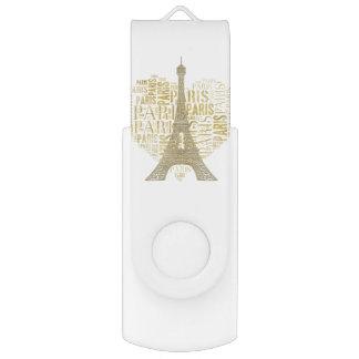 Inscriptions d'or Paris de Tour Eiffel   au coeur Clé USB 2.0 Swivel