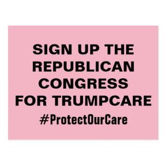 Inscrivez-vous le congrès pour TrumpCare protègent Carte Postale