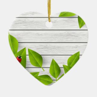 Insecte d'amour ornement cœur en céramique