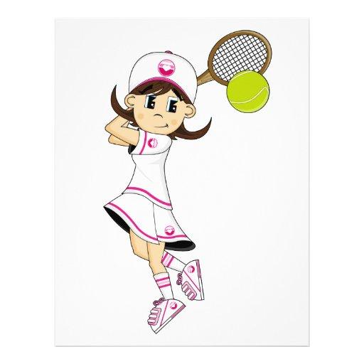 Insecte mignon de fille de tennis prospectus personnalisés