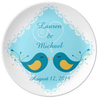 Inséparables bleus épousant le souvenir assiettes en porcelaine