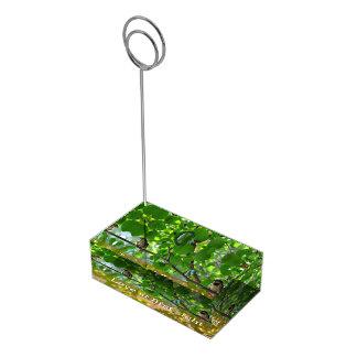 Inséparables sur un porte-cartes de table de porte-cartes de  table
