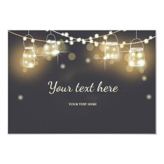 Insérez les lumières rustiques de ficelle de craie carton d'invitation 8,89 cm x 12,70 cm