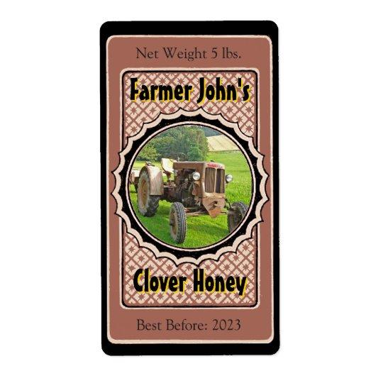 Insérez un pot fait sur commande de miel d'image étiquettes d'expédition