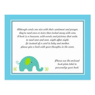 Insertion bleue et verte de baby shower d'éléphant carte postale