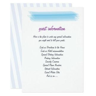Insertion bleue molle minimaliste de mariage carton d'invitation  11,43 cm x 15,87 cm