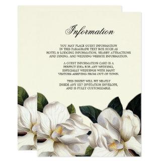 Insertion botanique du sud de l'information de carton d'invitation  11,43 cm x 15,87 cm