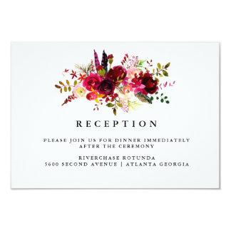 Insertion florale de l'information de réception carton d'invitation 8,89 cm x 12,70 cm
